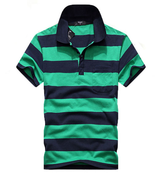 Wholesale Men Short Sleeve Striped Polo Shirts
