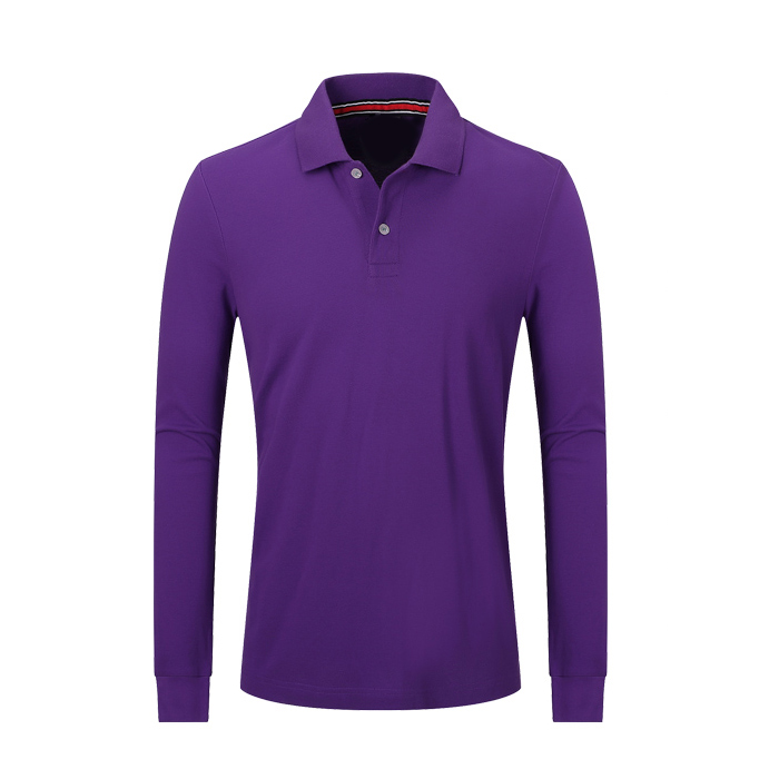 Hot Sale High Quality Women Long Sleeve Purple Polo Shirts