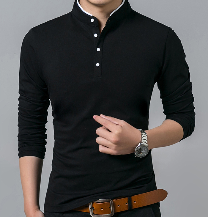 Stylish Custom Men Cotton Black Polo T Shirts With Stand Collar