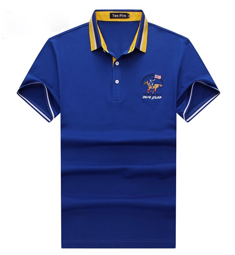 yarn dye collar short sleeve mercerized cotton golf shirts with embroidered patches