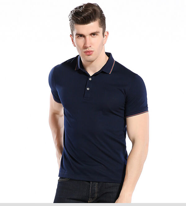 high texture 100 cotton yarn dye collar slim fit plain blue polo shirts