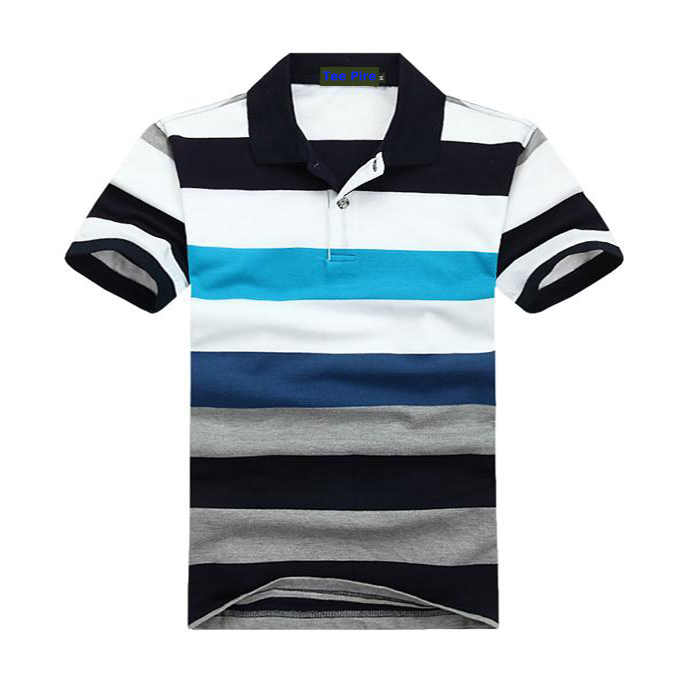 100% cotton pique embroidery new design yarn dyed stripes man polo t-shirt