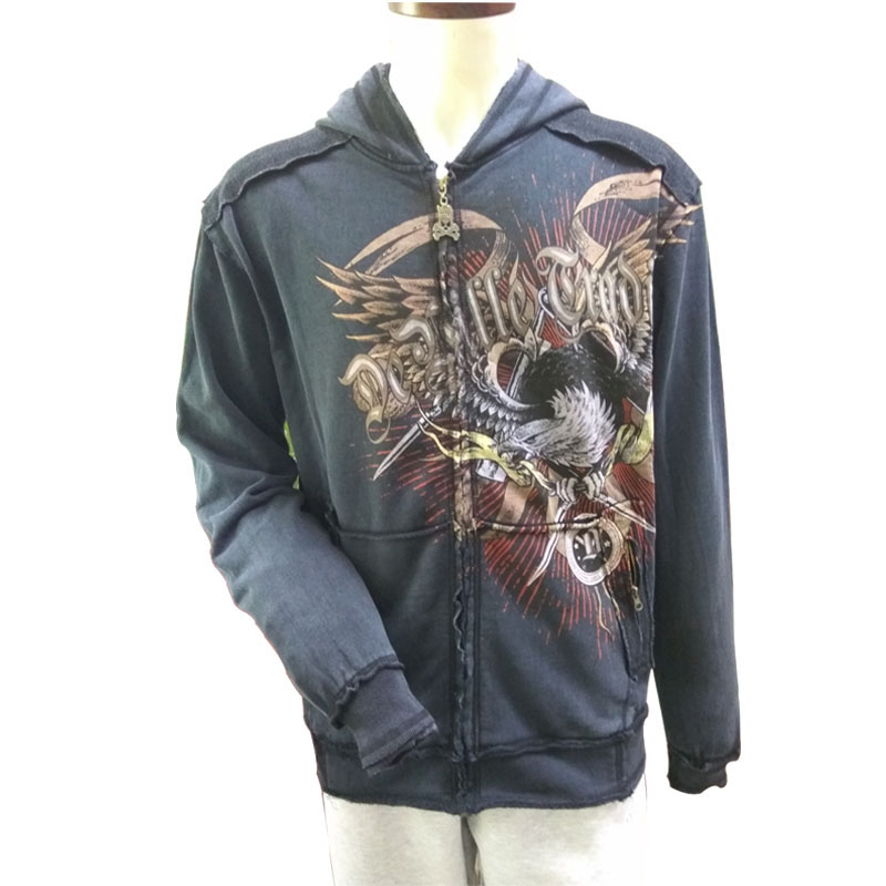 Premium Quality OEM Custom Zipper Discharge Printing Hoodie for Men