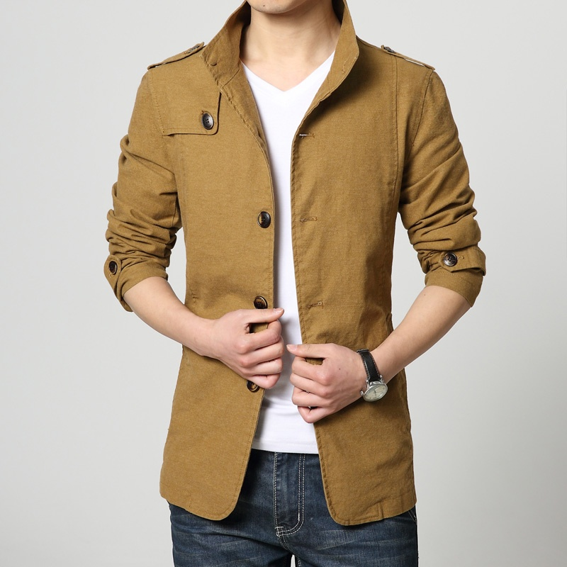Pea coat stand collar casual jacket