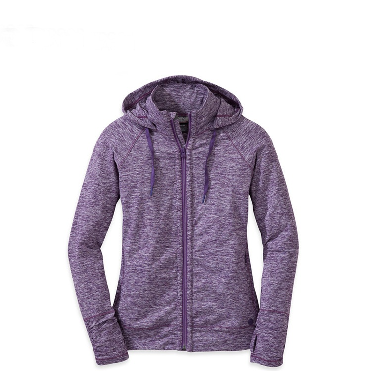 Cotton full zipper women hoodies with draw string